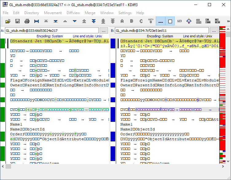 kdiff3 screenshot comparing two versions of a stub.mdb file