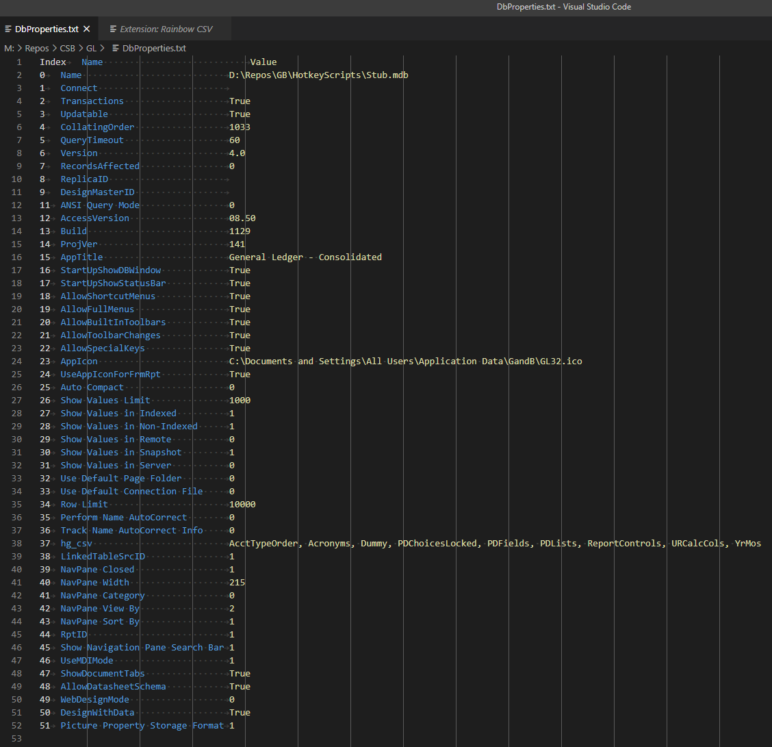 Screenshot of DbProperties.txt in Visual Studio Code