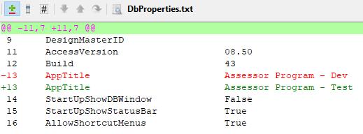 Screenshot of the TortoiseHg diff window for DbProperties.txt
