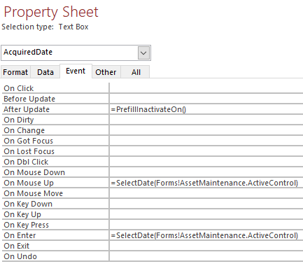 Screenshot of a Text Box Property Sheet with direct function calls on the Event properties page